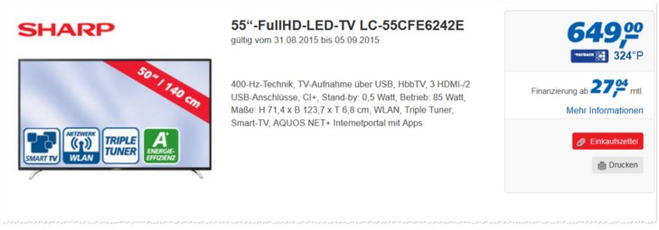 Sharp LC-55CFE6242E Angebot bei Real