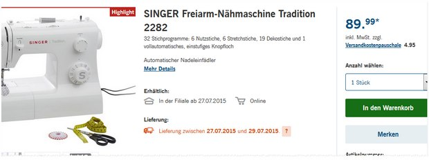 Singer Tradition 2282 bei LIDL