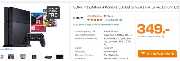 Sony PlayStation 4 + DriveClub + Little Big Planet 3 Bundle für 349 €