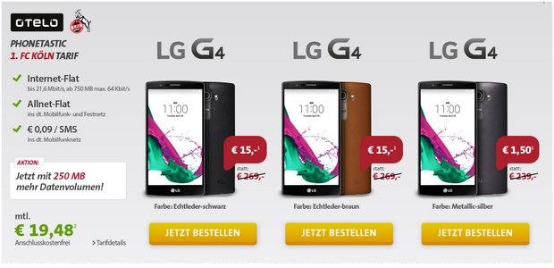 Sparhandy Phonetastic Mondays ab 13.7.2015 mit LG G4 + Otelo Allnet-Flat (FC Köln Tarif)