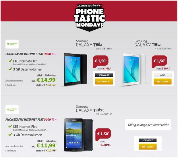 Sparhandy Phonetastic Mondays ab 20.7.2015 mit Internet-Flat 3000 im Telekom-Netz + Samsung Galaxy Tab A 9.7