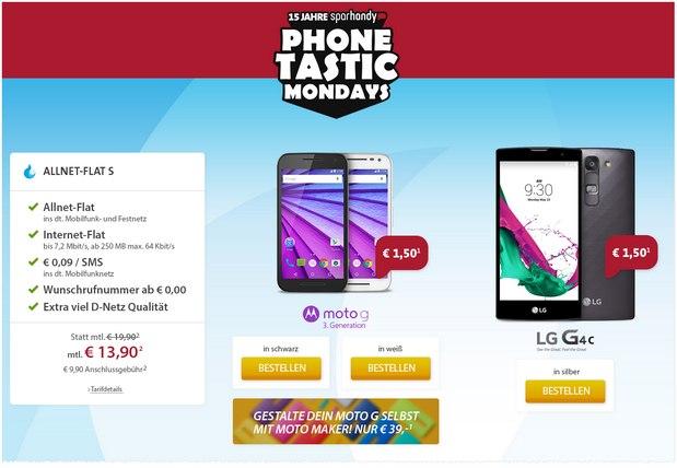 Sparhandy Phonetastic Mondays ab 3.8.2015 mit Sparhandy Allnet-Flats + Moto G (3. Generation) oder LG G4c für je 1,50 €