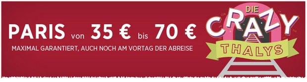 Thalys-Tickets zum Festpreis ab 35 € bei den Crazy Thalys Days