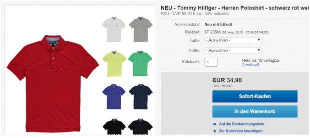 Tommy Hilfiger Poloshirt für 34,90 € bei Engelhorn
