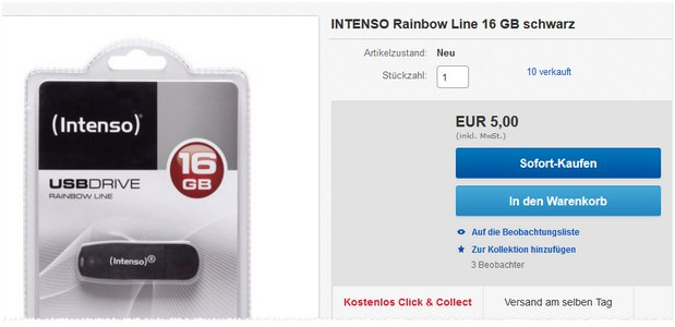 Media Markt USB-Stick Intenso Rainbow Line (16 GB) nur 5 €