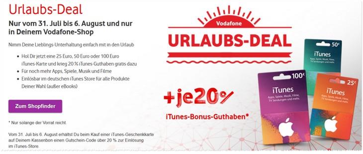 Vodafone Deal der Woche mit iTunes Extra-Guthaben