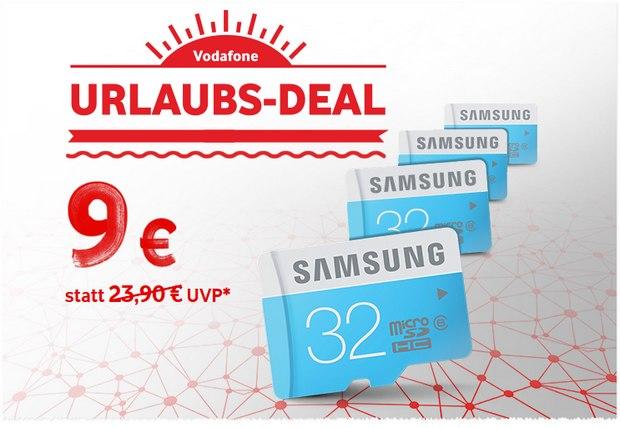 Vodafone Urlaubs-Deal der Woche ab 17.7.2015: Samsung-Speicherkarte (32 GB) für 9 €