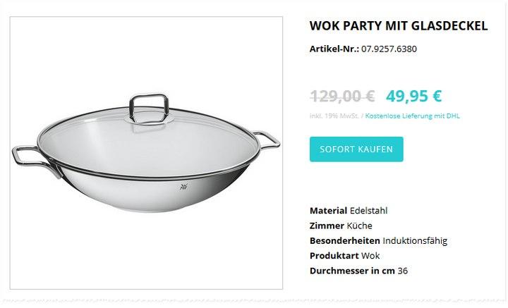 WMF-Edelstahl-Wok »Party« mit Glasdeckel im WMF-Sonderverkauf 49,95 €