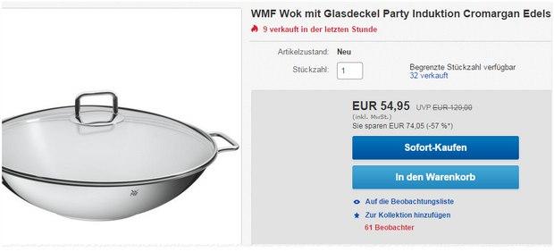 WMF Edelstahl-Wok »Party« als eBay-Angebot für 54,95 €