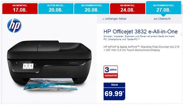 HP Officejet 3832 als ALDI-Nord-Angebot ab 27.8.2015 für 69,99 €