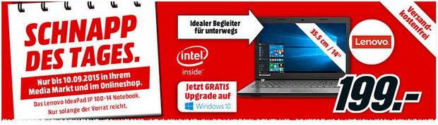 Lenovo Ideapad IP 100-14 als Media Markt Schnapp des Tages am 10.9.2015 für 199 €