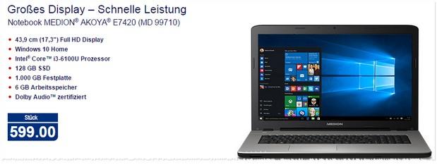 Medion Notebook bei ALDI Nord im Angebot