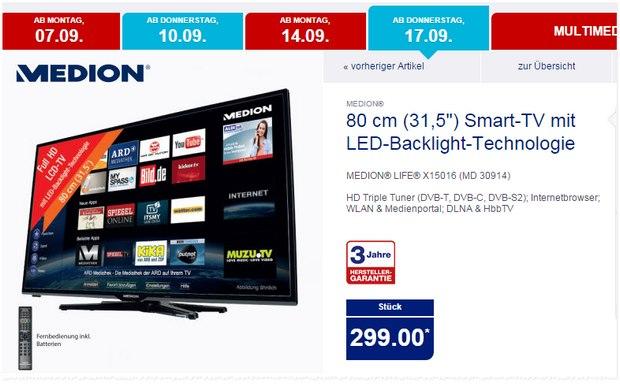 ALDI-Fernseher Medion Life X15016 (MD 30914) als ALDI-Nord-Angebot ab 17.9.2015 für 299 €