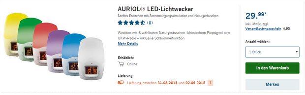 Auriol-Lichtwecker bei LIDL ab 31.8.2015 für 29,99 €