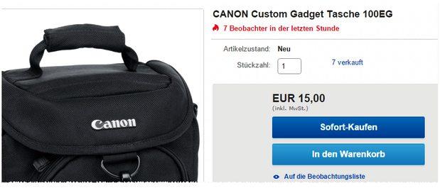 Canon Kameratasche EG100 bei Media Markt am 23.8.2015 für 15 €