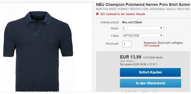 Preisbrecher: Champion Polohemd für 13,99 €