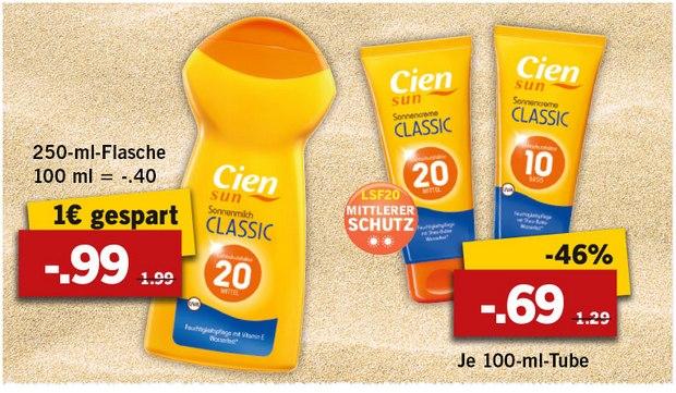 Reduziert: Die Cien Sun Sonnenmilch bekommt ihr derzeit im Markt ab 69 Cent (Tube)