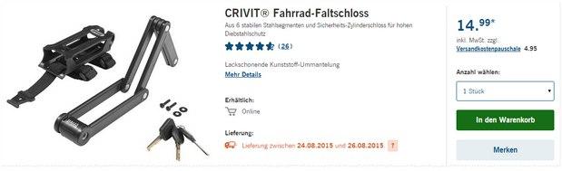 Crivit Fahrrad-Faltschloss als LIDL-Angebot ab 24.8.2015 für 14,99 €