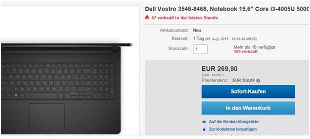 Dell Vostro 3546-8468: 15,6-Zoll-Notebook mit Intel i3, 500 GB Festplatte + 4 GB RAM für 269,90 € bei Redcoon