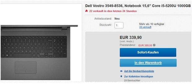 Dell Vostro 3549-8536: 15,6-Zoll-Notebook mit Intel i5, 1 TB Festplatte + 4 GB RAM für 339,90 € bei Redcoon