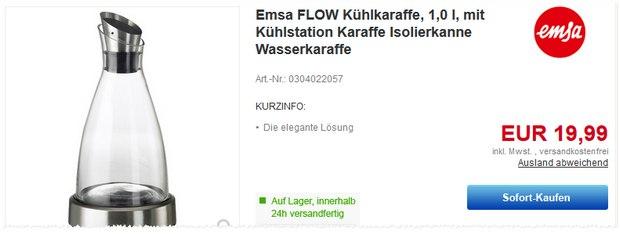 EMSA Flow Kühlkaraffe mit integrierter Kühlstation nur 19,99 €