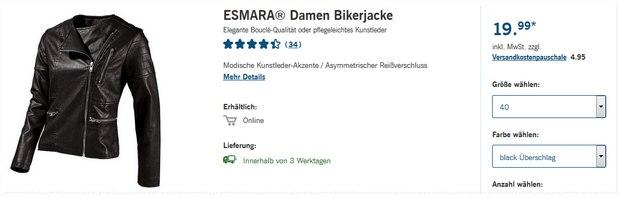 Esmara Bikerjacke in Lederoptik als LIDL-Angebot ab 7.9.2015 für 19,99 €
