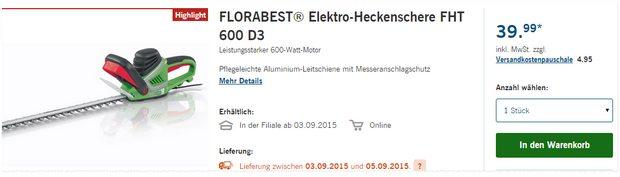 Florabest Elektro-Heckenschere FHT 600 D3