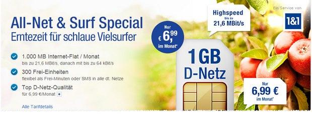 GMX Mobilfunk-Angebot All-Net & Surf Special für 6,99 €