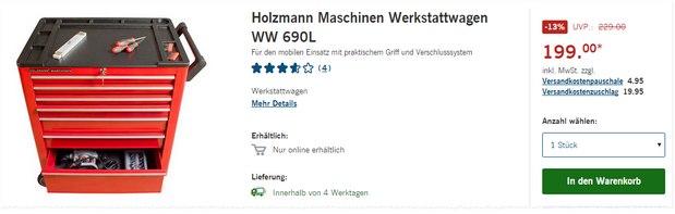 Holzmann-Maschinen Werkstattwagen WW 690L für reduzierte 199 €