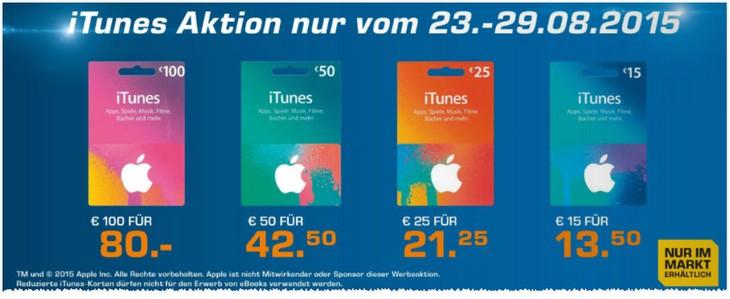 iTunes Karten-Rabatt Aktion im Saturn Markt