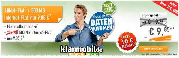 Klarmobil Allnet-Flat für 9,85 €