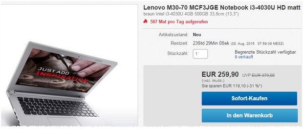 Lenovo M30-70 MCF3JGE bei Cyberport nur 259,90 €