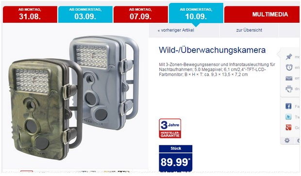 Maginon Wild-Überwachungskamera als ALDI-Nord-Angebot ab 10.9.2015