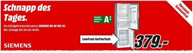 Media Markt Schnapp des Tages am 28.8.2015: Siemens KG36VVL32 für 379 €