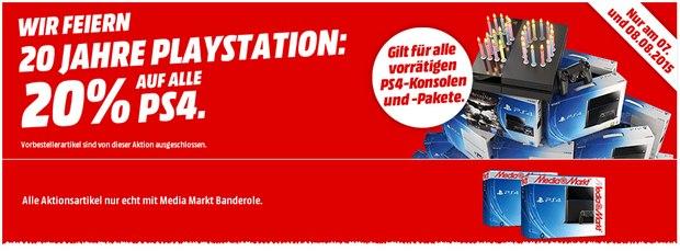 Media-Markt-Werbung: 20% Rabatt auf PlayStation 4 am 7.8.2015 und 8.8.2015