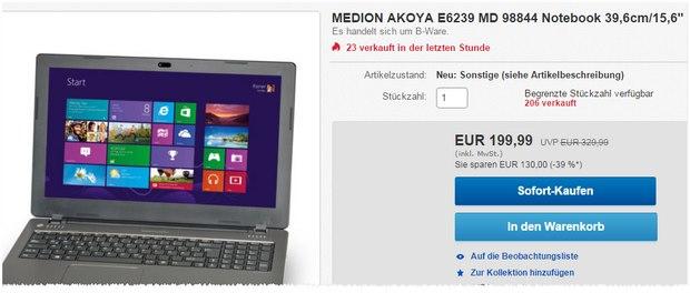 Medion-Notebook Medion Akoya E6239 (MD 98844) für 199 €