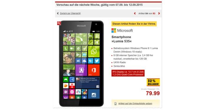 Kaufland Angebot für das Microsoft Lumia 535 ab 7.9.2015