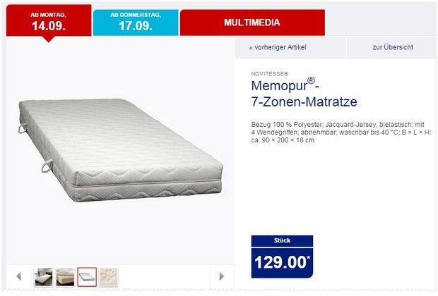 Novitese Memopur 7-Zonen-Matratze: ALDI-Nord-Angebot ab 14.9.2015 für je 129 €