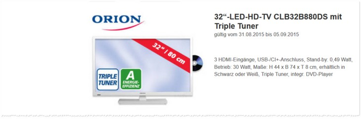 Orion Fernseher als Angebot bei Real