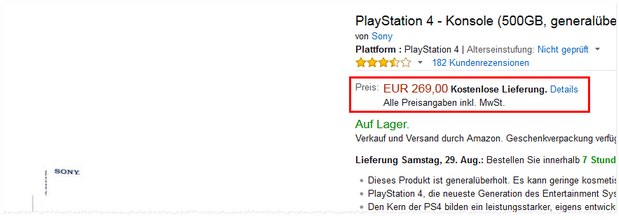 PlayStation 4 (500 MB) generalüberholt bei Amazon als Graded-Product für 269 €