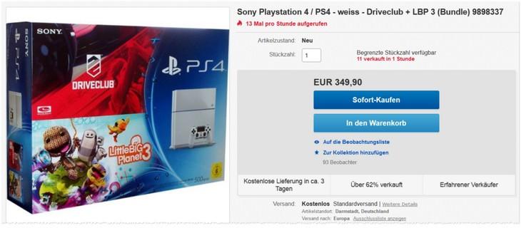 Weißes PlayStation 4 Bundle mit LBP 3 und Driveclub