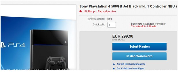 PS4 (500 GB) für 299,90 € als eBay-WOW-Deal am 13.8.2015