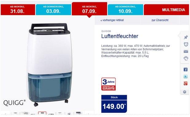 Quigg-Luftentfeuchter als ALDI-Nord-Angebot ab 7.9.2015 für 139 €