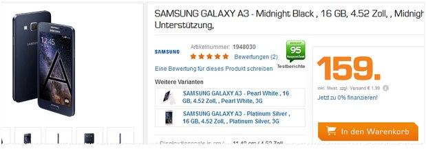 Samsung Galaxy A3 als Saturn-Angebot bis 31.8.2015 für 159 € - ab 19 Uhr!