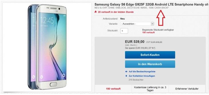 Einheitsbonus beim Samsung Galaxy S6 Edge