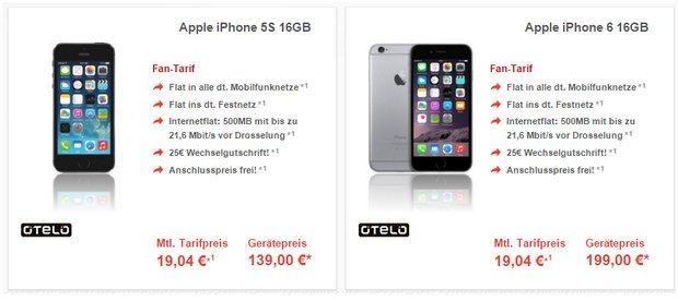 Schalke-Flat alias otelo Fan-Tarif - z.B. mit iPhone 6 für 199 €