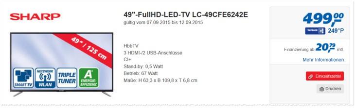 Sharp LC 49CFE6242E Fernseher
