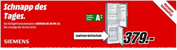 Siemens Kühlschrank 379 € als Media Markt Schnapp des Tages am 28.8.2015
