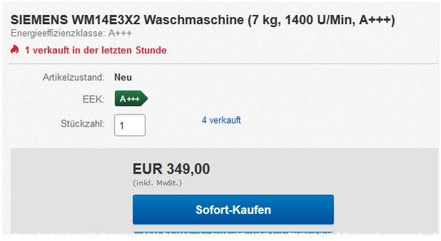 Siemens WM14E3X2 aus der Media Markt Werbung für 349 €