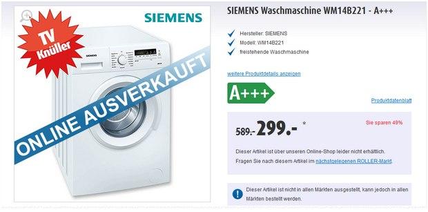 Siemens Waschmaschine WM14B221 aus der Roller-Werbung für 299 €